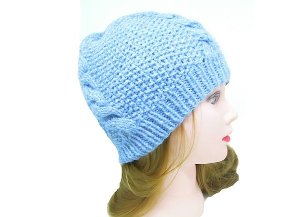 1a0e98cde6b Sky Blue Unisex Winter Hat Cable Knit Beanie Hand Knitted