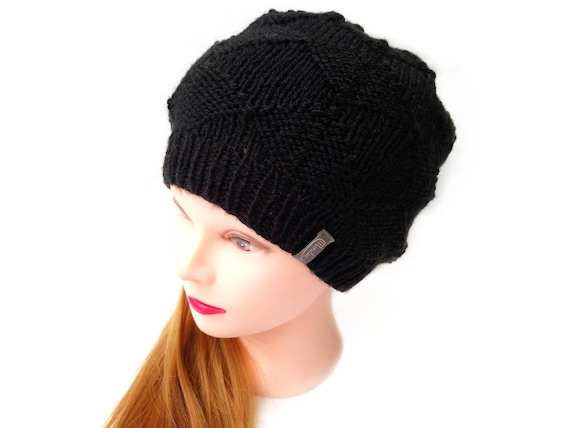486627e9c79 Black Beanie Black Winter Hat Hand Knitted Hat made with