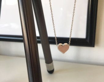 Silver Heart Bead Necklace | Heart pendant necklace | Dainty chain