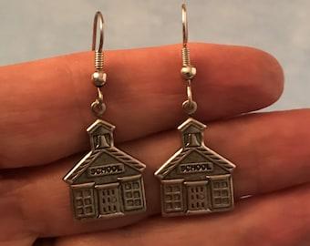 School Earrings, Schoolhouse Earrings