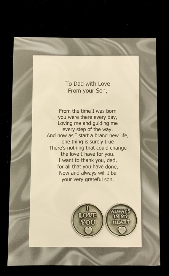 To Dad From You Son Token Set Father Of The Groom Wedding Etsy