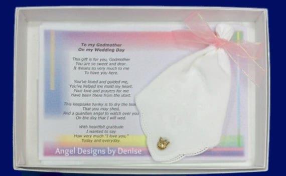 Godmother Wedding Gift: Godmother Wedding Handkerchief & Angel Pin Gift Set Gift