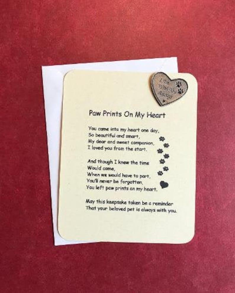 Paw Prints On My Heart Poem & Pocket Token Pet Sympathy ...