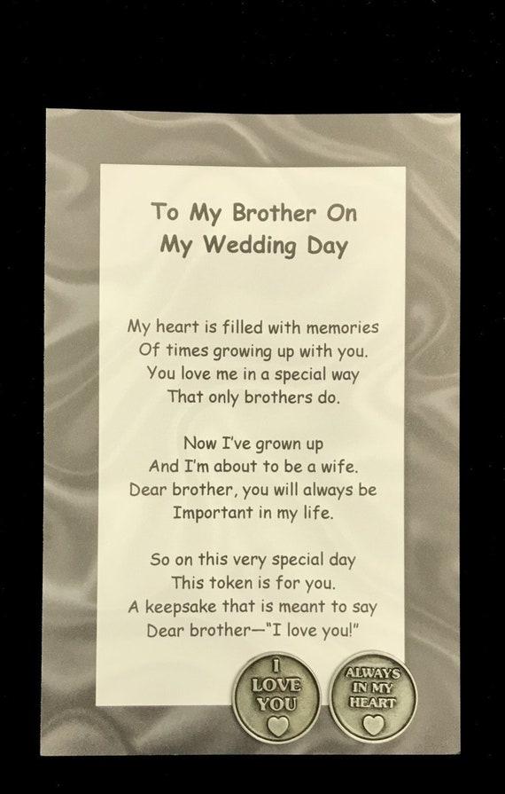 à Mon Frère Sur Mon Ensemble Cadeau Mariage Jour Poème Poche