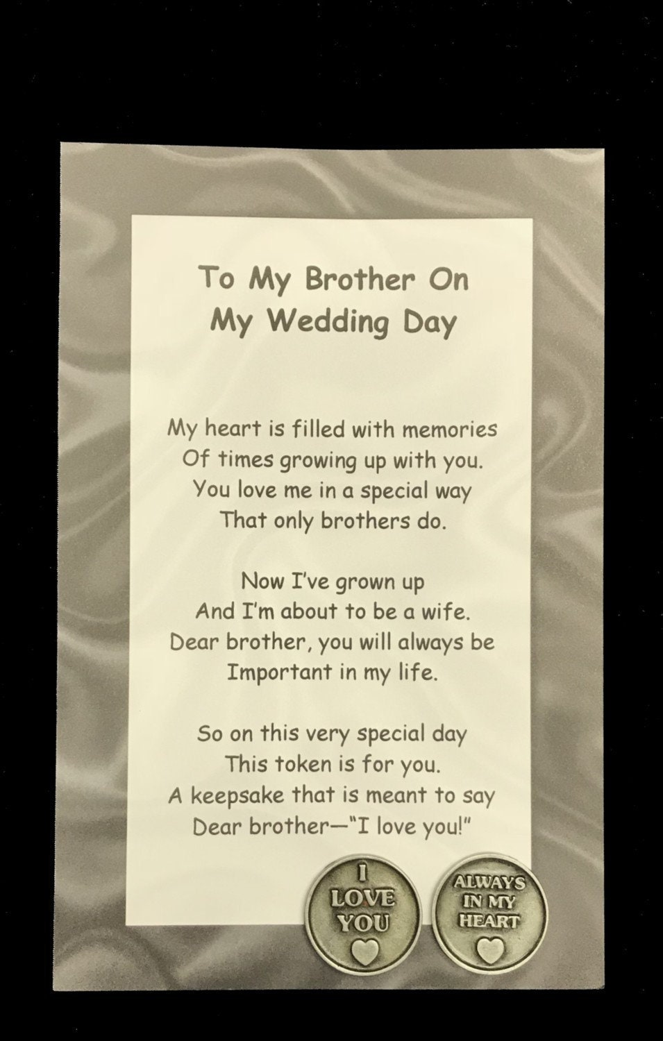 To My Brother On My Wedding Day Poem & Pocket Token Gift