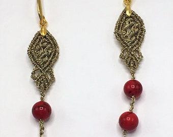 MACRAME Earrings ' Coral