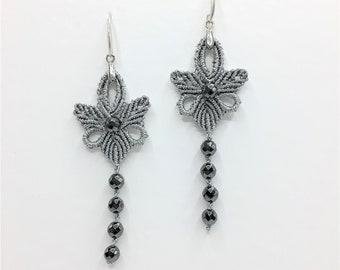 MACRAME Earrings ' Silver