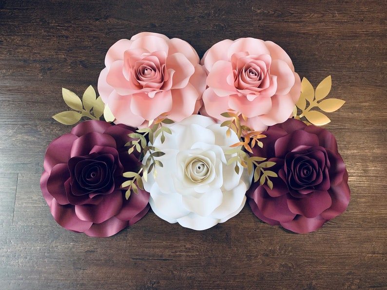 5pc Paper Roses Nursery Decor Baby Shower Backdrop Birthday