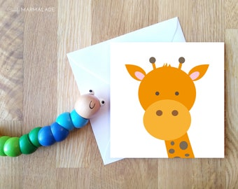 GIRAFFE blank greetings card by Comfy Marmalade - animal card - wildlife - jungle - safari