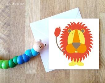 LION blank greetings card by Comfy Marmalade - animal card - wildlife - jungle - safari