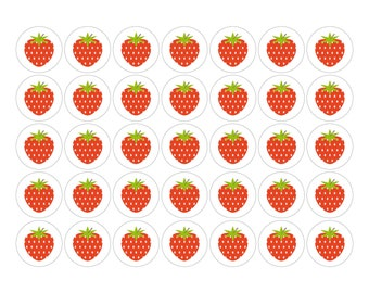 STRAWBERRY 37mm sticker sheet, 35 stickers, by Comfy Marmalade