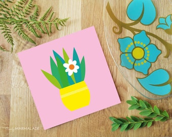 PLANT blank greetings card by Comfy Marmalade - house plant - potted plant