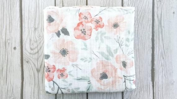 Floral Swaddle blanket Floral Baby Blanket Baby Girl Blanket Pink Baby Blanket baby girl Shower gift Swaddle Blanket floral pom pom blanket