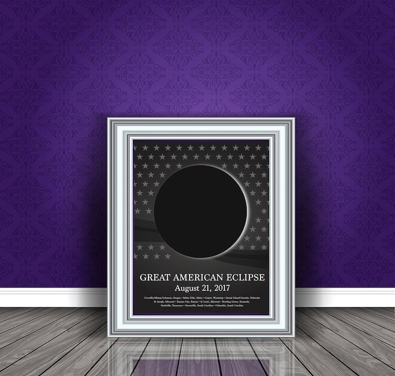 7cba8327b Total Solar Eclipse Print Eclipse Party Decor Wall Art   Etsy