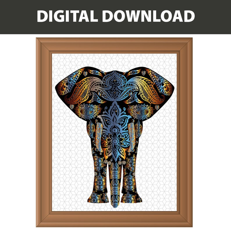 Elefanten Druck Batik Elefant Kunst Safari Dekor Wand Kunst Elefant Drucken Sofortigen Download Druckbare Kunst Kunst Animal Art Print
