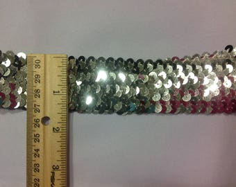 Stretch silver sequins band
