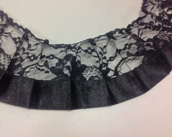 Black ruffle lace with ribbon