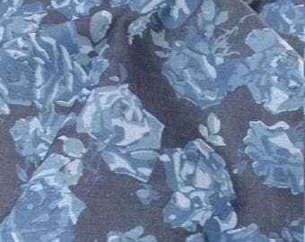 Floral blue denim fabric