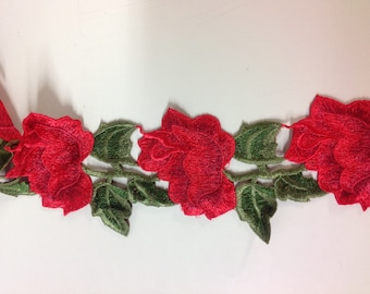 Red Rose embroidered flower appliqué by the yard
