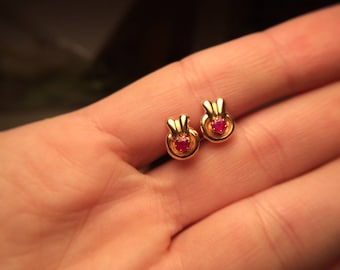 Gold & Ruby Stud Earrings - Kids