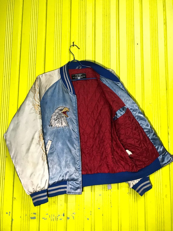 Vintage Japan Eagle Embroidery Souvenirs Dragon Sukajan Jacket aq0rwaR