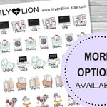 Icon Planner Stickers - GENERAL - Work Planning Cleaning Laundry Work out Tv Shopping Date night Birthdays pay day bill due delivery
