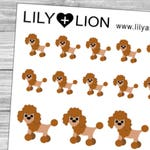 Poodle Planner Stickers - Dog dogs breed care pet animal - Erin condren plum paper happy planner - Chocolate Black white