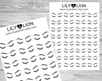 Eyebrow & Eyelash Appointment Planner Stickers - Plum Paper - Erin Condren - Happy Planner