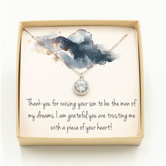 Thank you For Raising The Man Of My Dreams Necklace Mother Of The Groom Gift Mother of the Bride Gold Necklace Gift MIL Gift