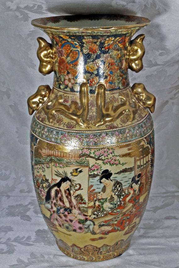 Beautiful Large Japanese Mothers Caregivers Themed Ceramic Etsy