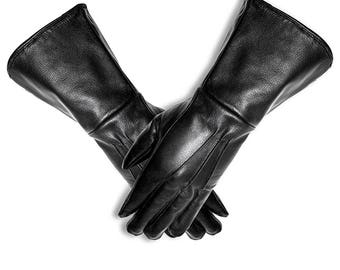 973235d8e42c Leather Gauntlet Motorcycle Unlined gloves long arm cuff