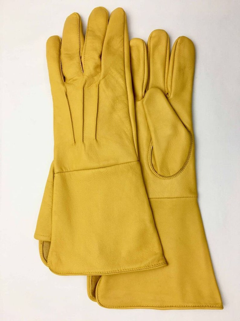 Men/'s Medeival Blue  leather Gloves  Long Arm Cuff Size Medium