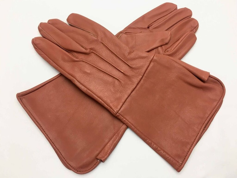 Men/'s Medieval Renaissance Gauntlet cosplay Red Leather Gloves Long Arm Cuff
