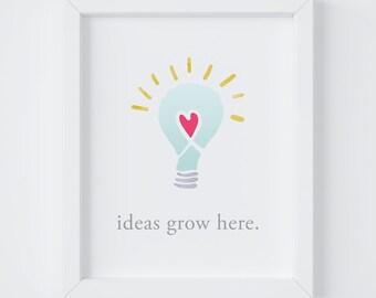 Ideas Grow Here Print, Home Decor, Home Office Decor, Office Decor, Inspirational Print, Motivational Print, 8x10 & 5x7 Digital Print