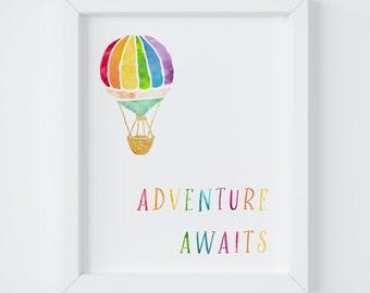 Hot Air Balloon, Adventure Awaits, Nursery Print, Playroom Decor, Kids Room Decor, Boys Room Decor, Instant Download, 8x10 & 5x7 Print