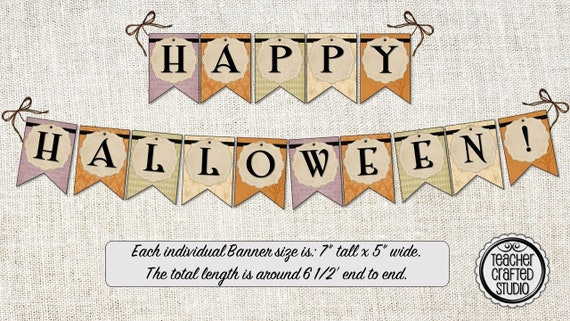photo about Happy Halloween Banner Printable named Printable Pleased Halloween Banner Common Design - Halloween decor - Clroom Banner- Halloween Occasion Banner - Bulletin Board Banner