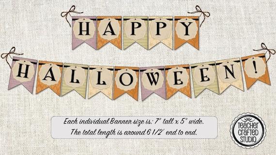 graphic regarding Happy Halloween Banner Printable named Printable Content Halloween Banner Common Design and style - Halloween decor - Clroom Banner- Halloween Bash Banner - Bulletin Board Banner