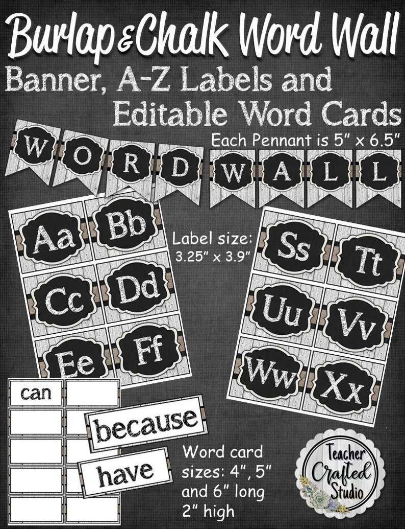 photograph regarding Printable Word Wall Cards With Pictures identify Burlap and Chalk Term Wall Clroom Fixed Banner and Editable Playing cards  Instructor Term Wall Bulletin Board Term Wall