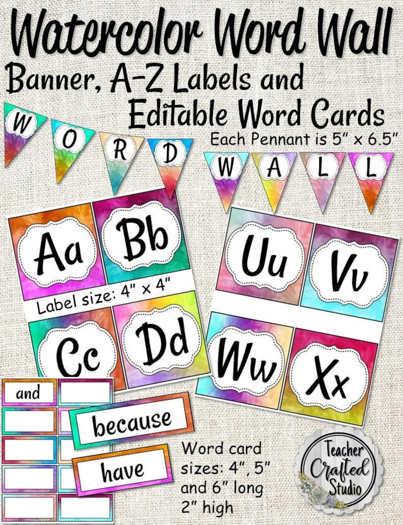 picture regarding Printable Word Wall Cards With Pictures called Watercolor Phrase Wall Clroom Preset Banner and Editable Playing cards Trainer Phrase Wall Bulletin Board Term Wall
