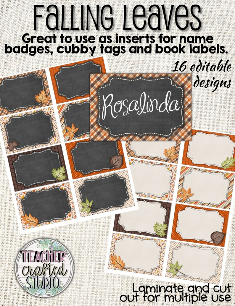 graphic about Printable Name Tags for Cubbies named Printable Slipping Leaves Tags - Editable Standing Badge Tags - Organizational Tags