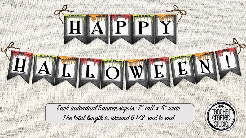 graphic about Happy Halloween Banner Printable named Printable Delighted Halloween Banner Chalkboard Drips - Halloween Decor - Clroom Banner - Bulletin Board Banner