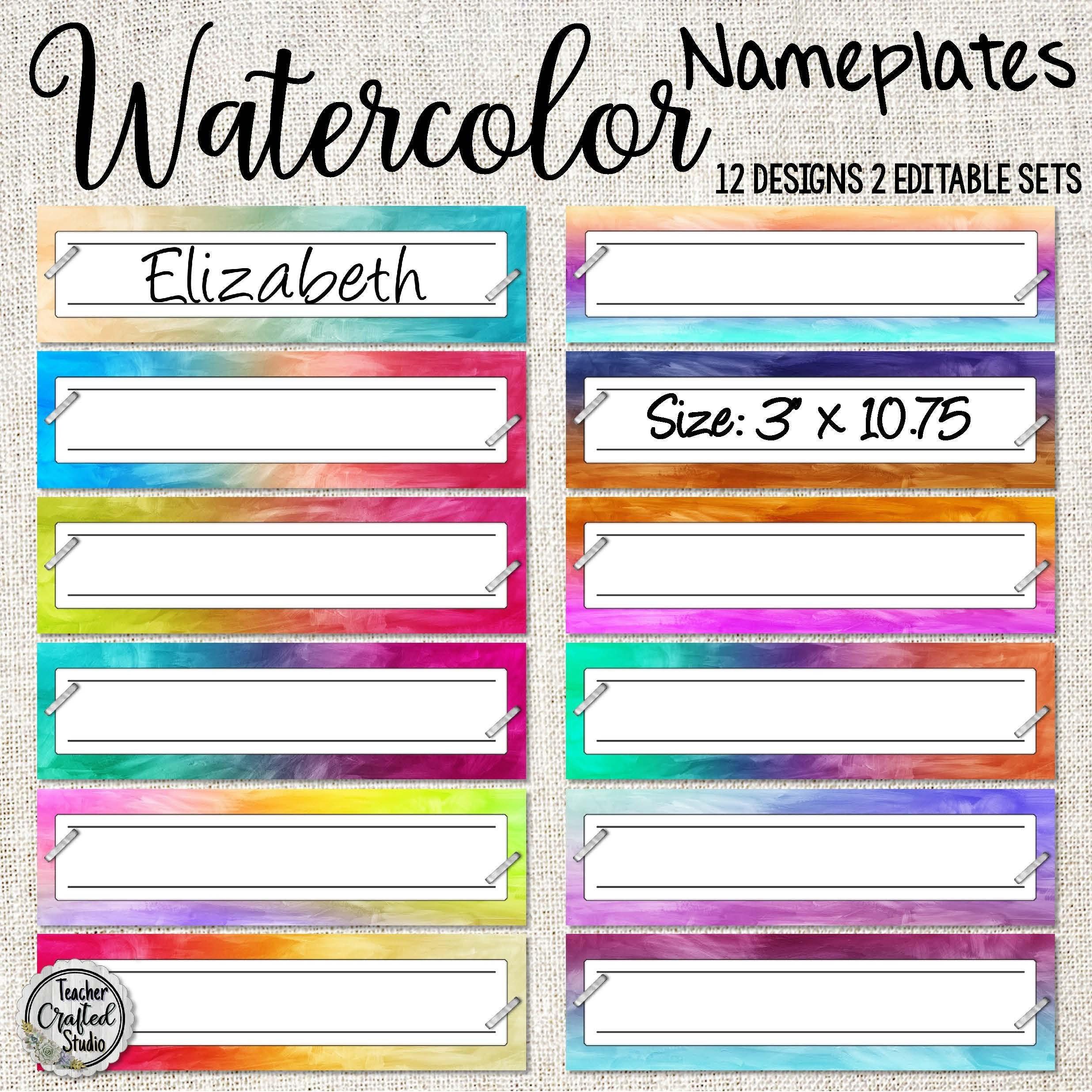 Printable Watercolors Desktop Nameplates Wall Labels Name Etsy