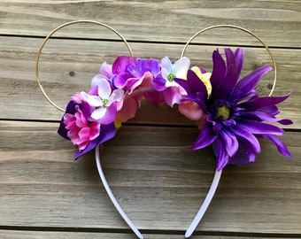 Rapunzel Inspired, Tangled, Floral, Flower,Wire, Mickey Ears, Minnie Ears
