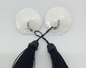 Black AB pearl beads burlesque nipple pasties