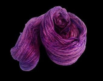 Mulberry Silk Roving Yarn in shades of Purple Shades  Hand Tie & Die Yarn | 325 yards carded pure silk