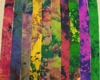 Recycled Sari Silk Ribbon - Abstract - Sari Silk Ribbons - Silk Strips - Great for Mixed Media, Rug making, Jewellery - 1 yard*10 pieces