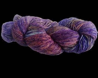 Mulberry Silk Roving Yarn in shades of Blue Yellow Orange Shades Hand Tie & Die Yarn | 325 yards carded pure silk