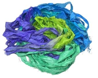 Recycled Sari Silk Ribbon - Blue Green Yarn - Sari Silk Ribbons - Silk Strips - Great for Mixed Media, Rug making, Jewellery | 30+ yards