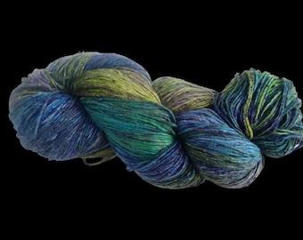 Mulberry Silk Roving Yarn in shades of Blue Green Shades  Hand Tie & Die Yarn | 325 yards carded pure silk
