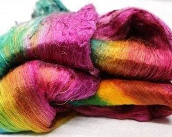 Silk Cocoon Sheet - Mulberry Silk Lap Fiber Hand Dyed 3.5 oz  - silk fibers for spinning - silk fibre for felting silk for roving